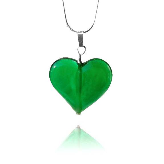 Emerald Green Glass Heart Pendant Necklace
