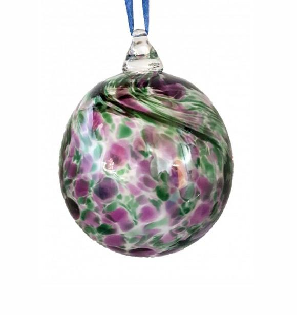 Green & Purple Spotted Glass Bauble