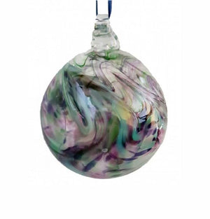 Green & Purple Swirl Glass Bauble