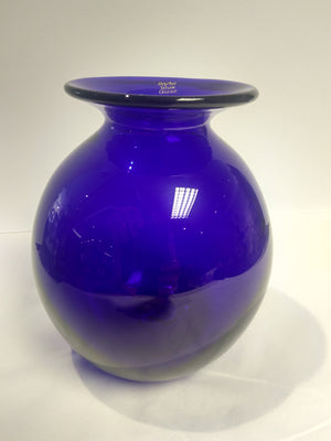 Slight Second Large Blue Glass Round Vase
