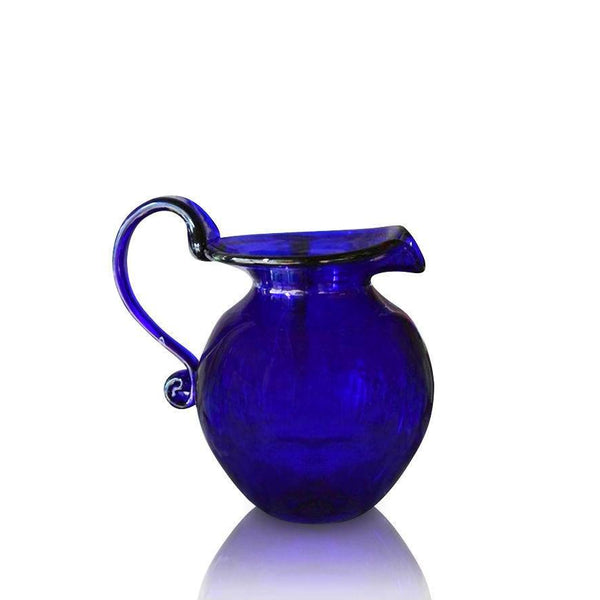Large Round Blue Glass Jug