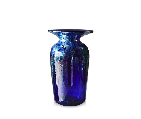 Large Tall Silver Swirl Blue Glass Vase