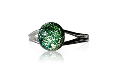 Lime & Gold Dichroic Glass Sterling Silver Ring