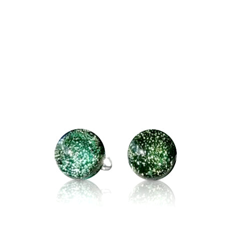 Lime & Gold Dichroic Glass Stud Earrings
