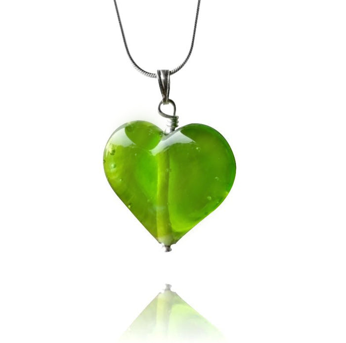 Lime Green Glass Heart Pendant Necklace