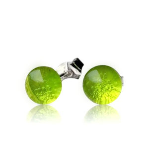 Lime Green Glass Stud Earrings