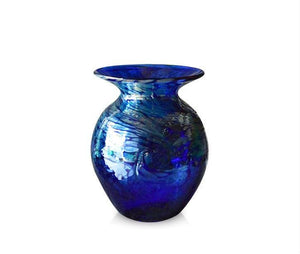 Medium Tall Silver Swirl Blue Glass Vase