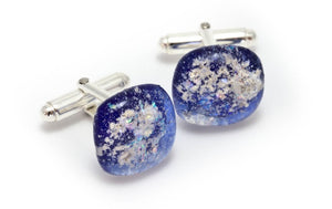 Memorial Glass Cufflinks - Blue