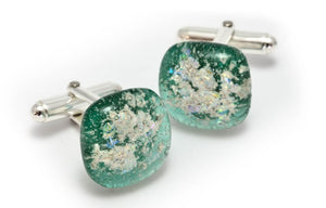 Memorial Glass Cufflinks - Emerald Green