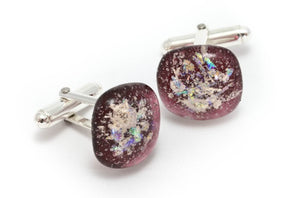 Memorial Glass Cufflinks - Ruby Red