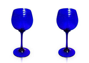 Pair of blue optic gin glasses