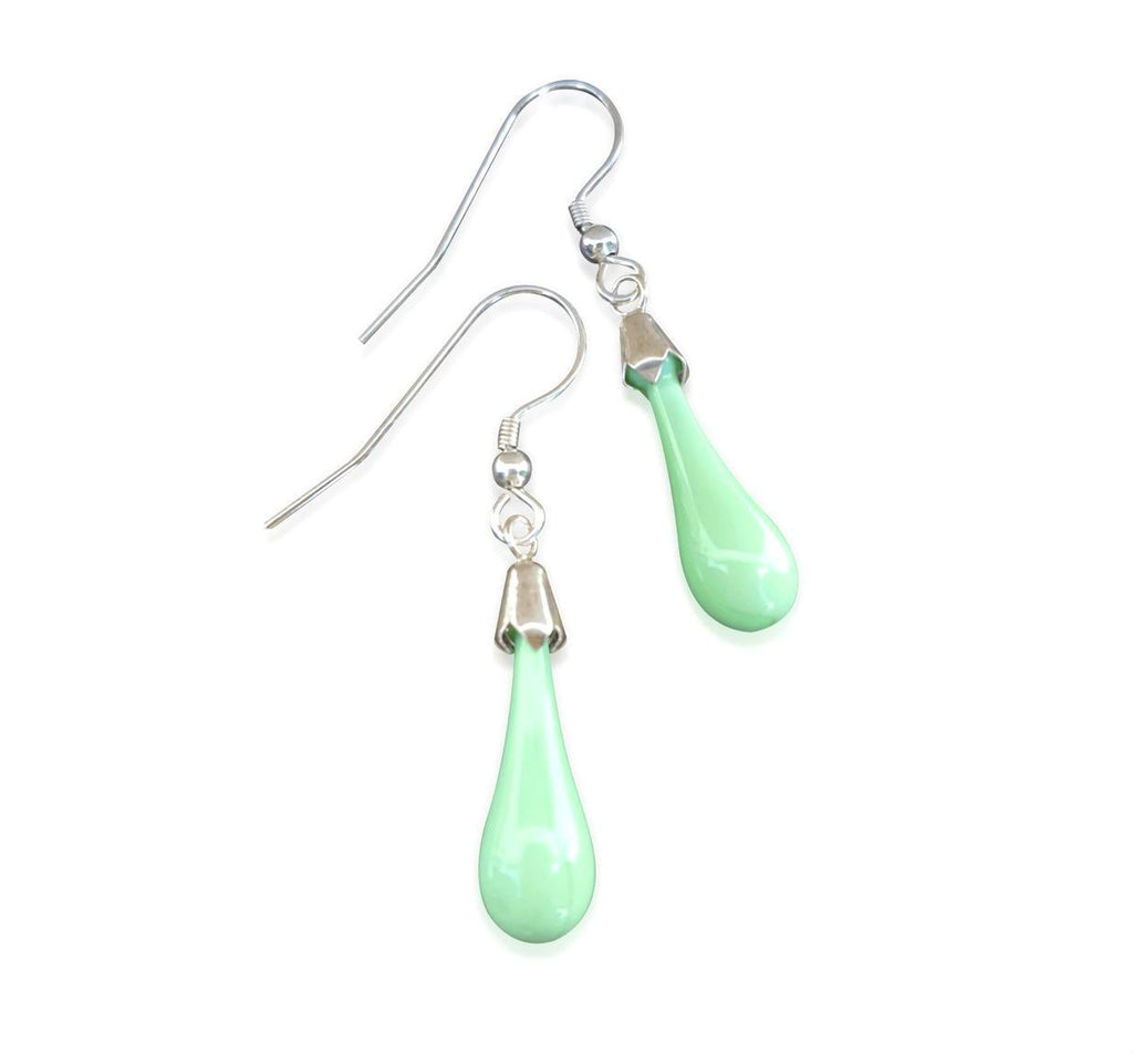 Pastel Green Glass Hook Drop Earrings