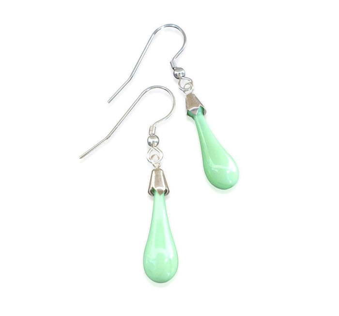 Spring Pastel Green Glass Earrings