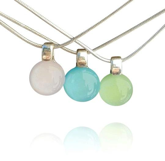Spring Pastel Dichroic Dainty Pendant Necklace