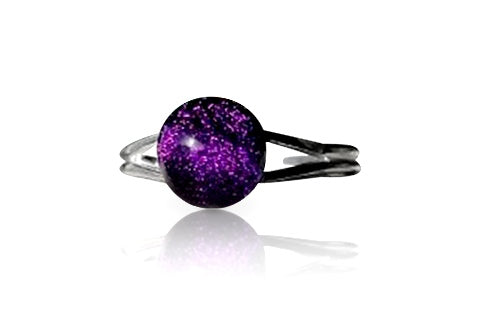 Purple Dichroic Glass Sterling Silver Ring