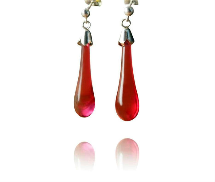 Ruby Glass Drop Earrings