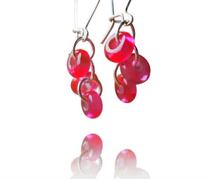 Ruby Glass Long Hook Cluster Bead Earrings