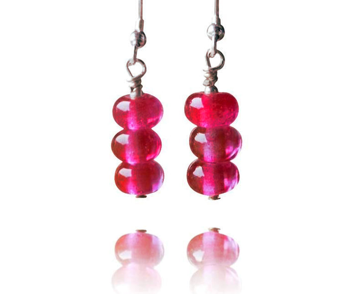 Ruby Glass 3 Tier Bead Earrings