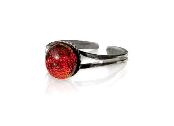 Red & Orange Dichroic Glass Sterling Silver Ring