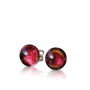 Red Orange Dichroic Stud Earrings