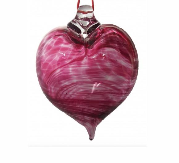 Ruby Heart Swirl Glass Bauble