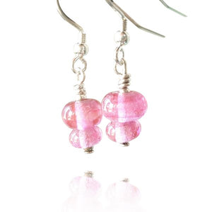 Ruby Glass 2 Tier Bead Earrings