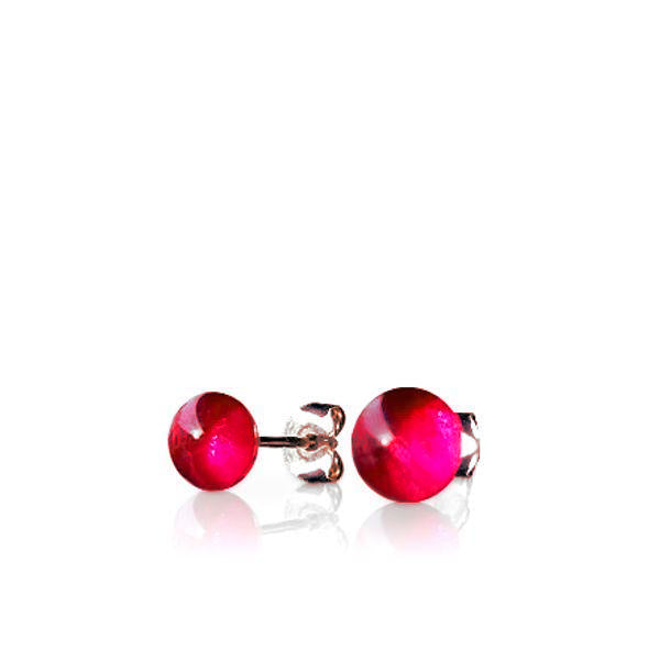 Ruby Glass Stud Earrings