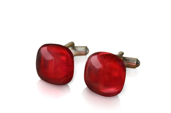 Ruby Glass Sterling Silver Cufflinks