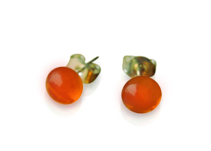 Amber Glass Stud Earrings