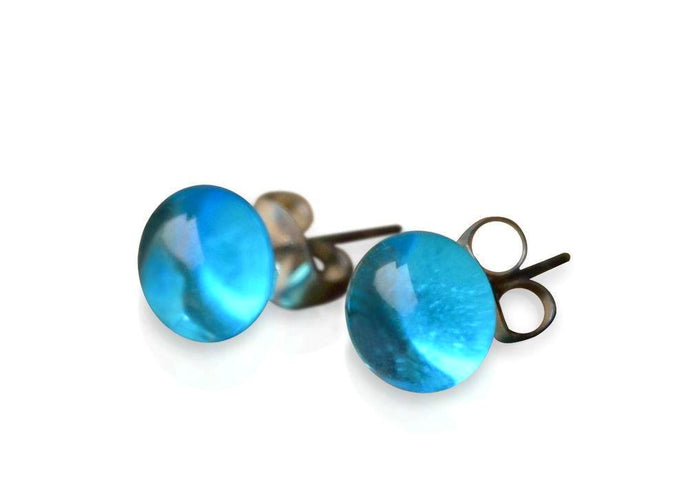 Aqua Blue Glass Stud Earrings