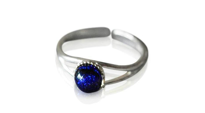 Small Blue Dichroic Glass Sterling Silver Ring