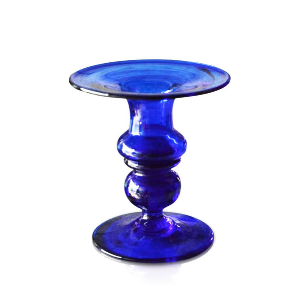 Small Blue Glass Candle Holder