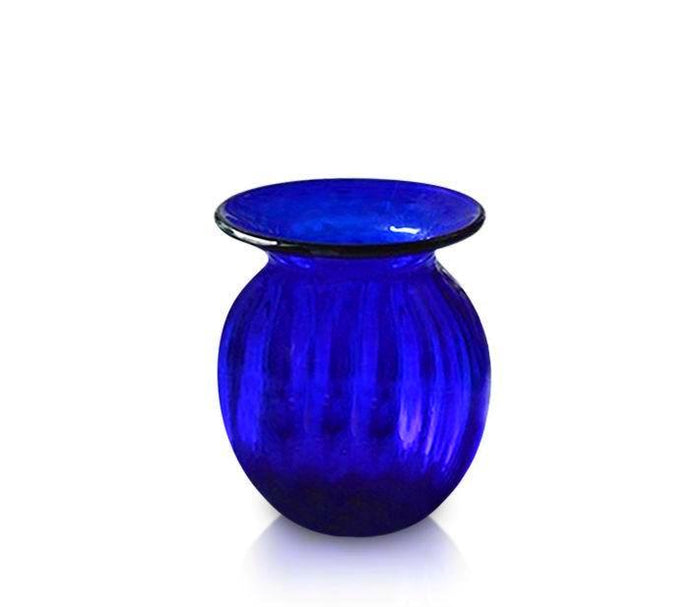 Small Blue Glass Optic Round Vase