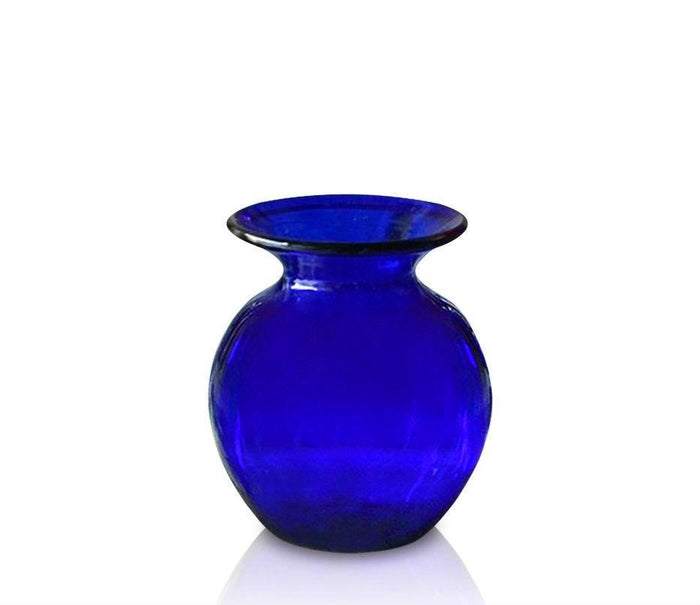 Small Blue Glass Round Vase