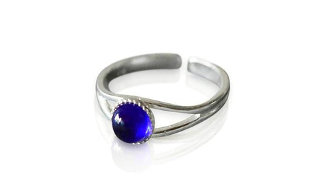Small Bristol Blue Glass Stone Sterling Silver Ring