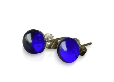 Small Cobalt Blue Glass Stud Earrings