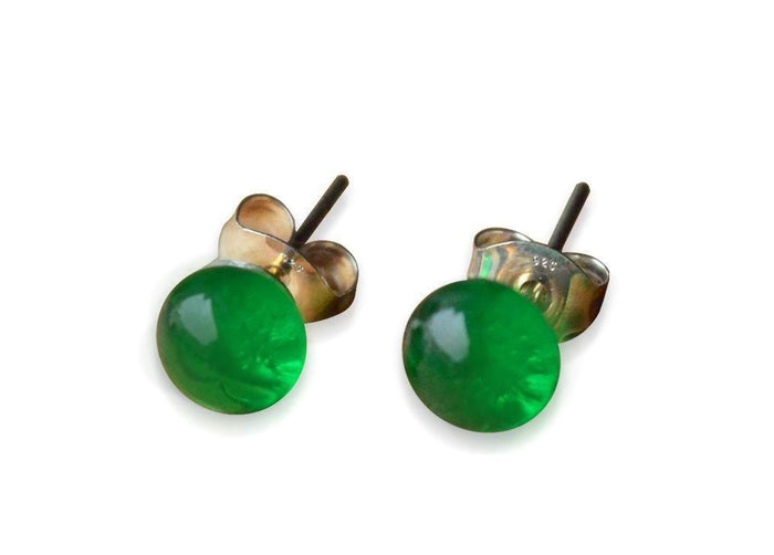 Emerald Green Glass Stud Earrings