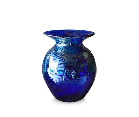Small Silver Swirl Blue Glass Round Vase