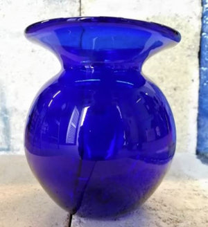 Special Offer 'Second' Small Blue Glass Round Vase