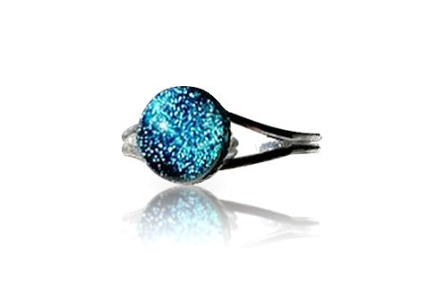 Teal Dichroic Glass Sterling Silver Ring