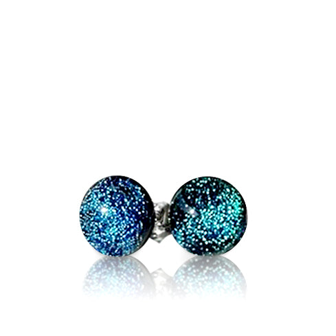Teal Dichroic Glass Stud Earrings