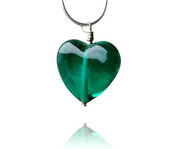 Teal Glass Heart Pendant Necklace