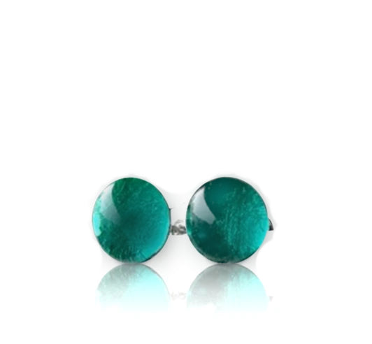 Teal Glass Stud Earrings