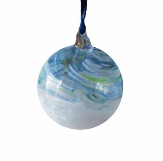 White & Blue Swirl Glass Bauble