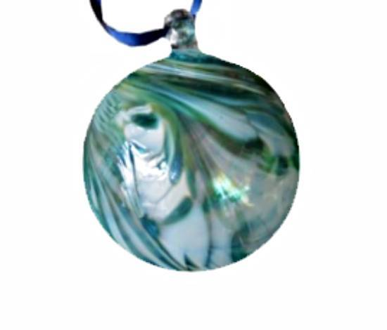 Green & White Swirl Glass Bauble