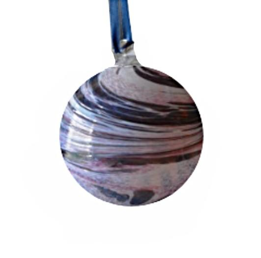 Purple & White Swirl Glass Bauble