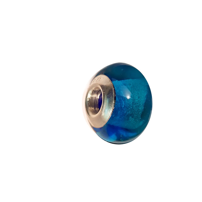 Aqua Blue Glass Charm Bead