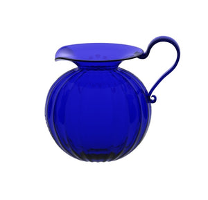 Small Round Optic Blue Glass Jug