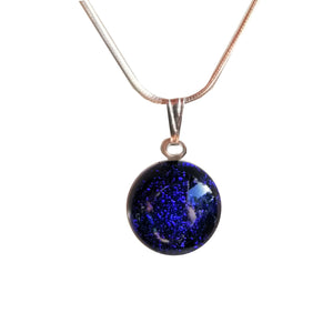 Blue Glass Dichroic Pendant Necklace