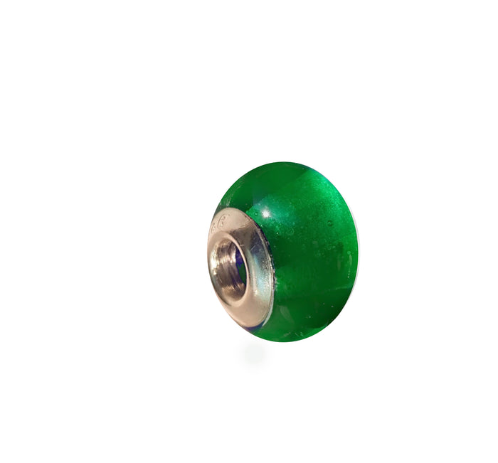 Emerald Green Glass Charm Bead